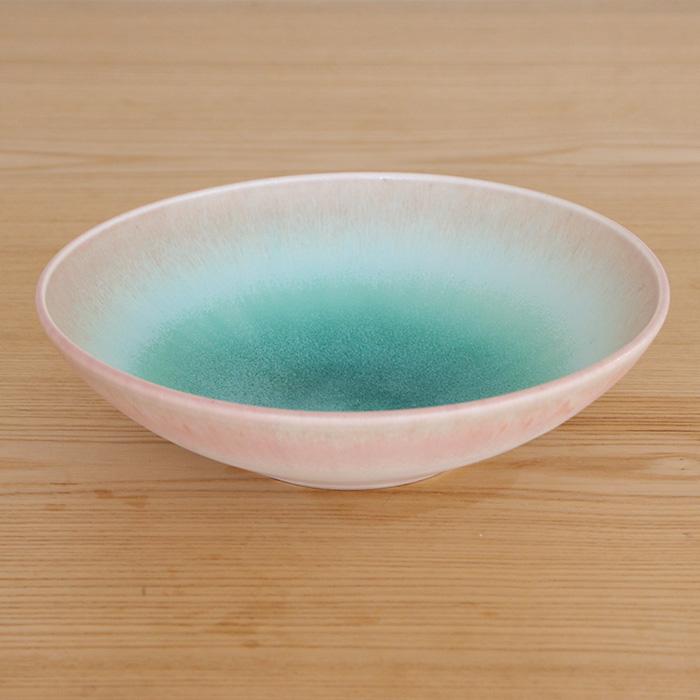 岩崎 龍二 鉢 アイスグリーン × 桃