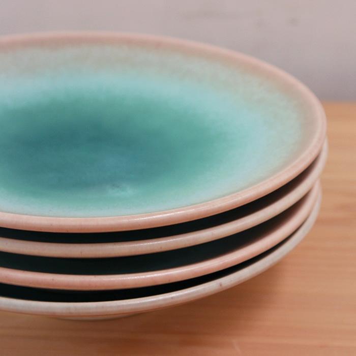岩崎 龍二 平皿 アイスグリーン × 桃