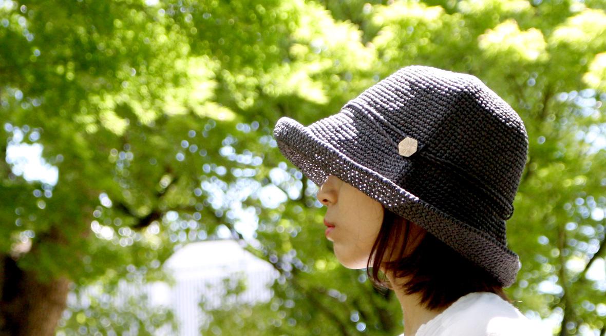 紫外線98%以上カット!爽やかな手編み帽子