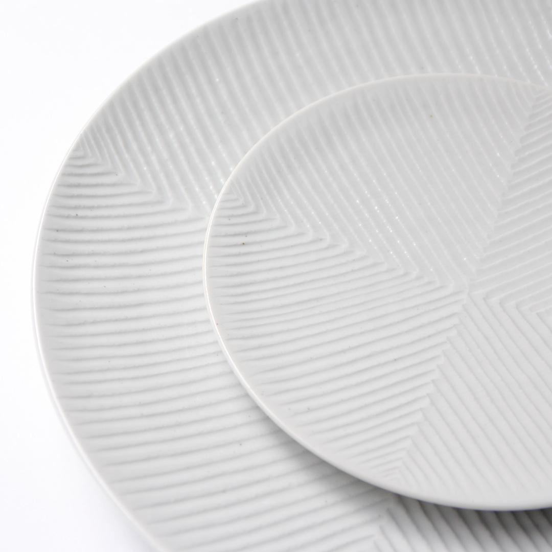 阿南 維也 白磁鎬5寸皿・8寸皿