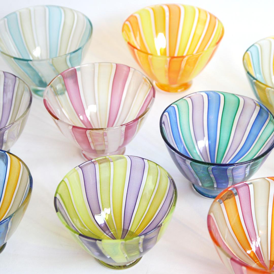 生島 明水 ストライプデザートグラス
